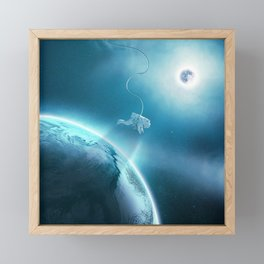 Astronaut Floating in Space Framed Mini Art Print
