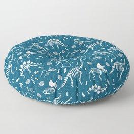 Dinosaur Fossils in Blue Floor Pillow