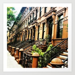 Harlem Brownstones on a summer's day Art Print