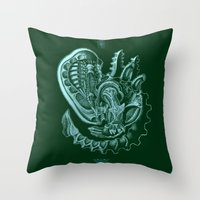 xenomorph Throw Pillows featuring Xenomorph by Jordan Lewerissa