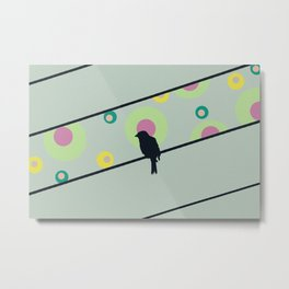 Bird on wire and dots Metal Print