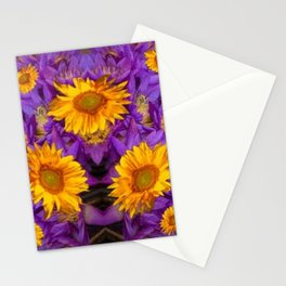 YELLOW SUNFLOWERS AMETHYST FLORALS Stationery Cards
