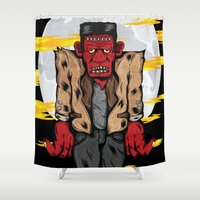 frankenstein Shower Curtains featuring Frankenstein by Pancho the Macho