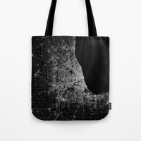 chicago map Tote Bags featuring Chicago map by Line Line Lines