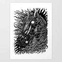 occult Art Prints featuring Occult horse by Iria Alcojor
