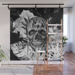 Black White Boho Skull Wall Mural