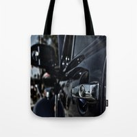 volkswagen Tote Bags featuring volkswagen turtle by gzm_guvenc