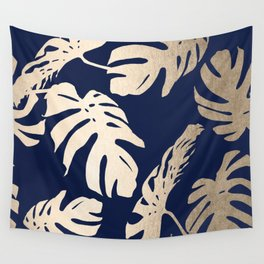 Simply Palm Leaves in White Gold Sands on Nautical Navy Wall Tapestry