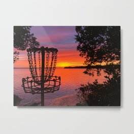 Disc Golf Sunset Water Ocean Gulf of Mexico Metal Print