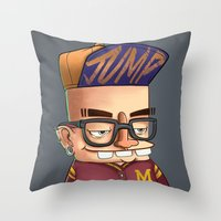 college Throw Pillows featuring College boy  by Emrah Tumer