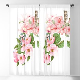 Botanical Blooming Flower Lungs Anatomy Print Floral Art Gift  Blackout Curtain