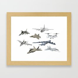 US Military Airplanes Framed Art Print