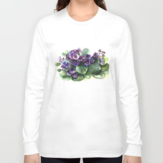 Senpolia viola violet flowers watercolor Long Sleeve T-shirt