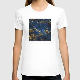 Exquisite Blue Marble With Luxury Gold Veins T-shirt
