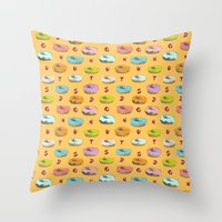 donuts Throw Pillows featuring Donuts by Evan Smith