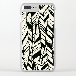 black and white feather texture Clear iPhone Case