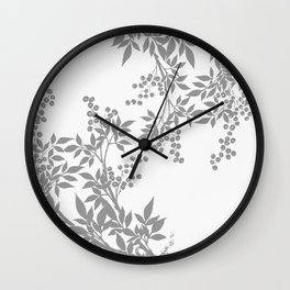 LEAF TOILE GRAY AND WHITE PATTERN Wall Clock