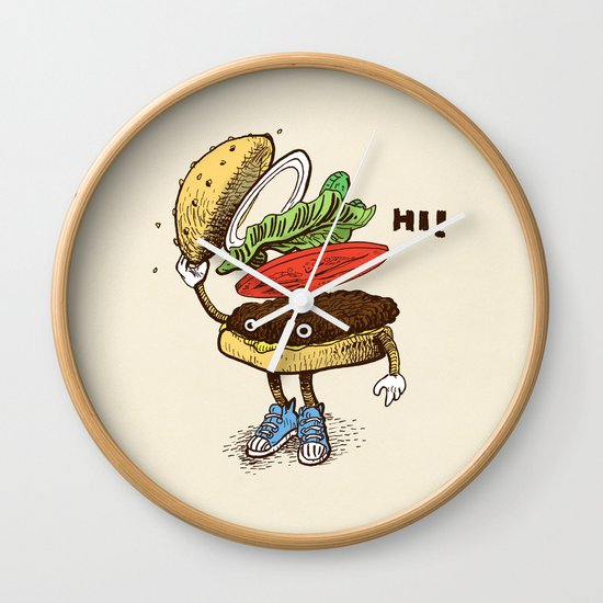 Burger Greeting Wall Clock