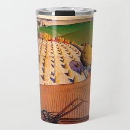 Classical Masterpiece 'Fall Plowing' by Grant Wood Travel Mug