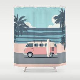 Surfer Graphic Beach Palm-Tree Camper-Van Art Shower Curtain