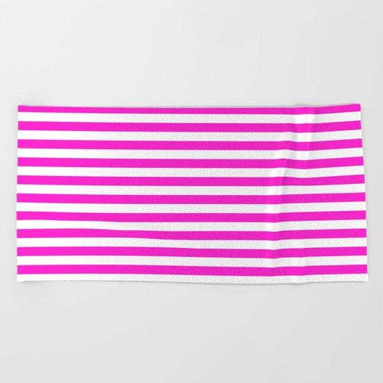Horizontal Stripes (Hot Magenta/White) Beach Towel