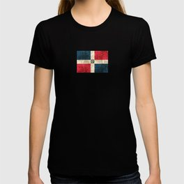 Vintage Aged and Scratched Dominican Flag T-shirt