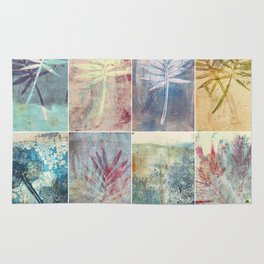 Monoprint collage of leaves Rug
