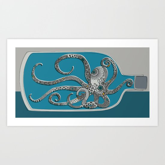 Octopus in a Bottle Art Print