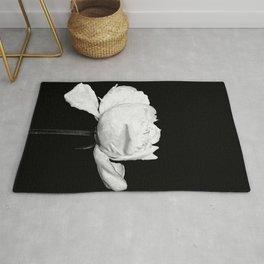 White Peony Black Background Rug