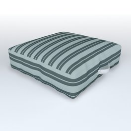 Blue Willow Green PPG1145-4 Horizontal Stripes Pattern 1 on Night Watch PPG1145-7 Outdoor Floor Cushion