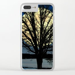 Modern Tree and Moon Over Midnight Blue Lake Art A479 Clear iPhone Case