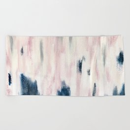Blush Pink and Blue Pretty Abstract Beach Towel