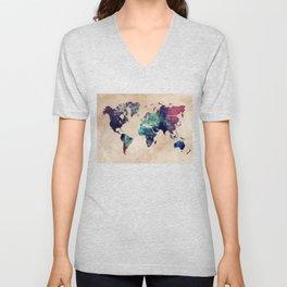 Cold World Map #map #worldmap Unisex V-Neck