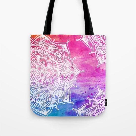 White Mandala on Watercolour Tote Bag