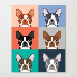 Boston Terriers tile pattern cute boston terrier puppies funny dog breed pet art gift for dog person Canvas Print