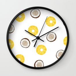 Raining Pineapples and Coconuts Wall Clock
