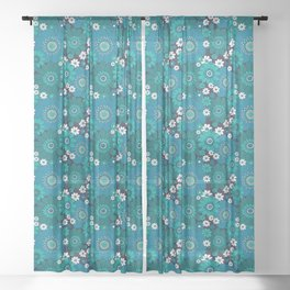 Pushing daisies blues Sheer Curtain