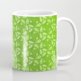 Nature Lover - green leafy pattern in heart, abstract digital art Coffee Mug