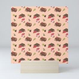 Autumn Hedgehogs pattern Mini Art Print