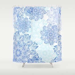 Mandala blue snowflake illustration. Shower Curtain
