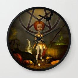 Halloween design with pumpkin,crow and little girl Wall Clock