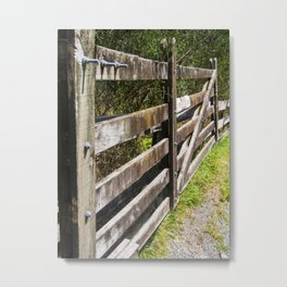Wooden Farm Gate And Fence Metal Print