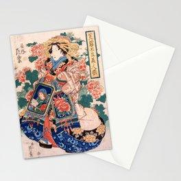 The Courtesan Hanamurasaki  - Vintage Japanese Art Print Stationery Cards