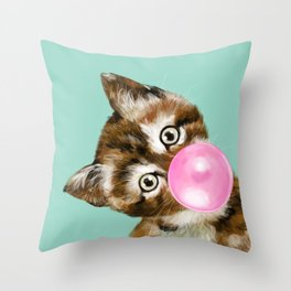 Bubble Gum Baby Cat in Green Throw Pillow