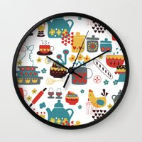 kitchen Wall Clocks featuring Kitchen by Kathrin Legg
