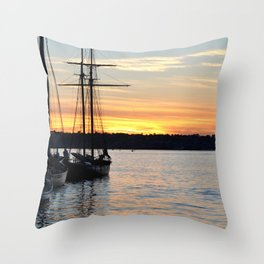 SHIPS AT SUNSET Throw Pillow