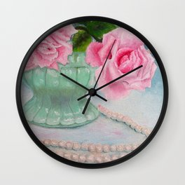 Jadeite, Pink Roses and a String of Pearls Wall Clock