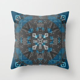 Magic Psychedelic Quilt Sacred Geometry Shipibo Inspired Print Throw Pillow