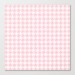 Pale Millennial Pink Pastel and White Houndstooth Check Canvas Print