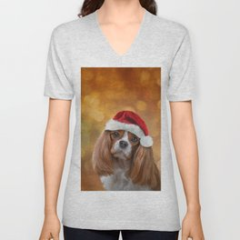 Drawing Dog breed Cavalier King Charles Spaniel  in red hat of Santa Claus Unisex V-Neck